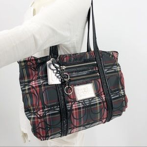 Coach Poppy EUC Plaid Red Black Bling Tote